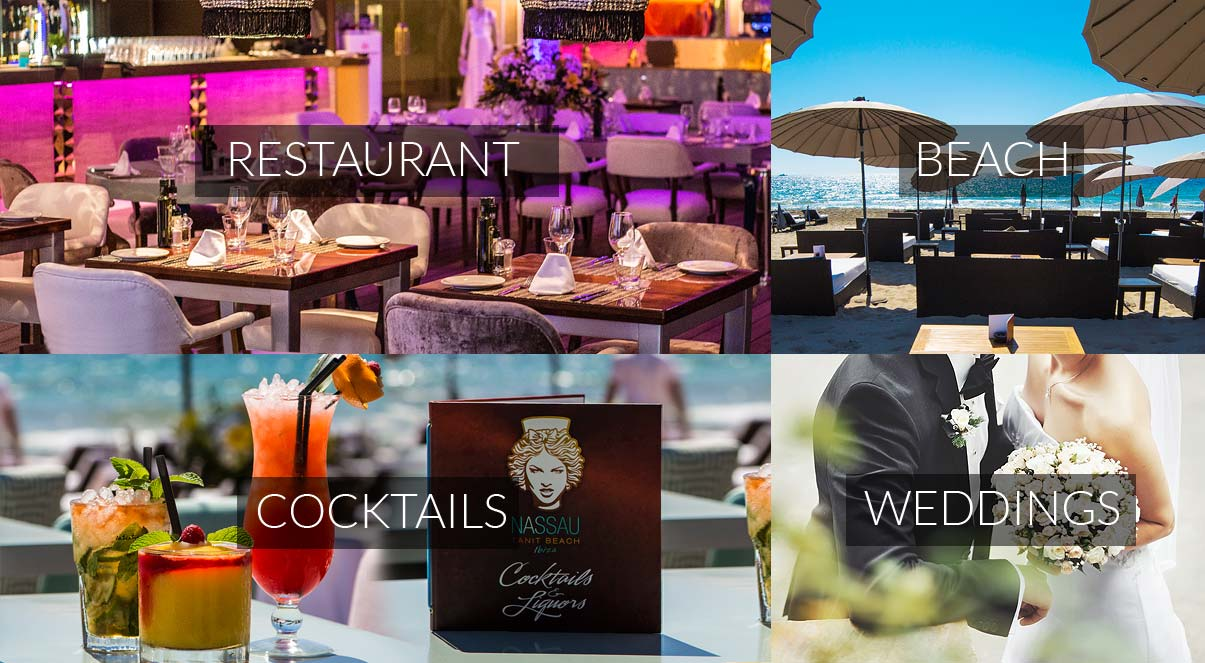 Nassau Tanit Beach Ibiza beach club restaurant wedding music entertainment events cocktails